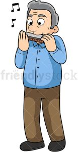 Old man harmonica player. PNG - JPG and vector EPS file formats